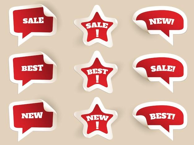 レッドラベル。新品、ベスト、セール。消費主義によるステッカーのセット。ベクトルイラスト 無料ベクター