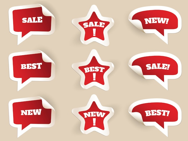 Red labels. new, best and sale. set of stickers by consumerism. vector illustration Free Vector