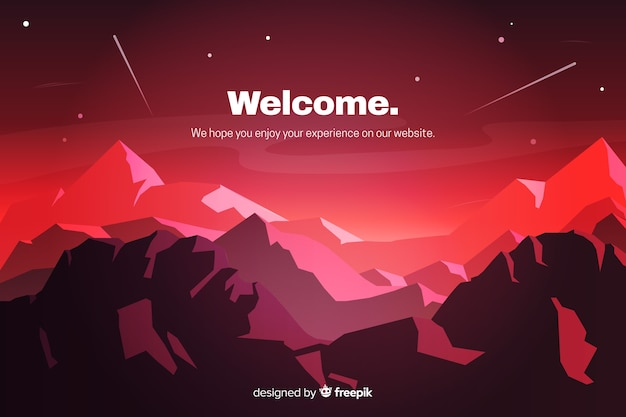 Red landing page with gradient landscape Free Vector