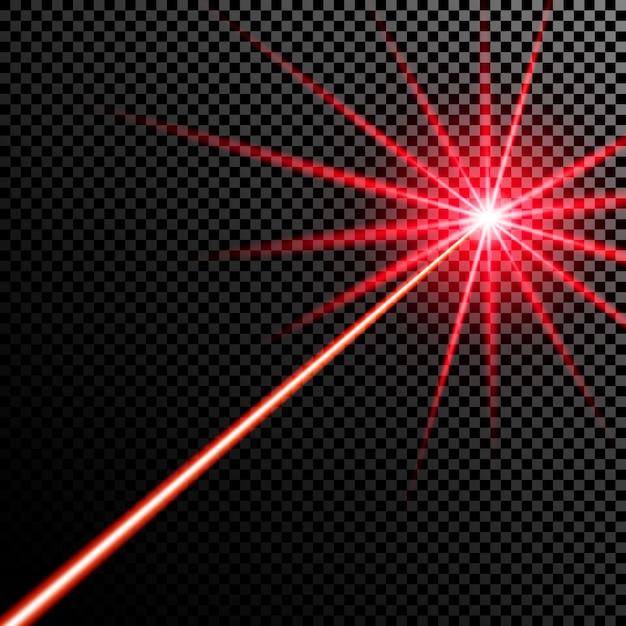 Red laser beam. Premium Vector