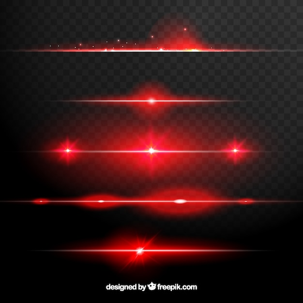 Red lens flare dividers collection Free Vector