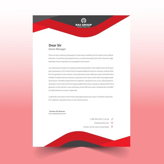 Red letter head design Premium Vector
