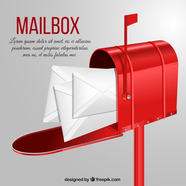 Red letterbox background with envelopes Free Vector