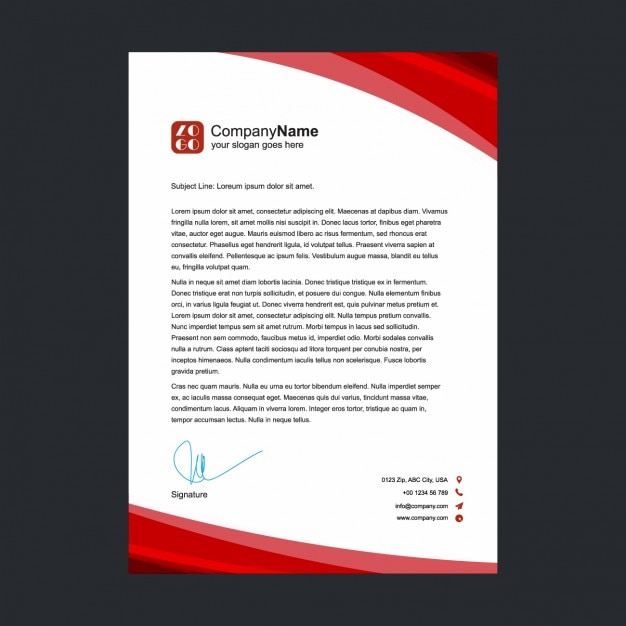 Red letterhead design Free Vector