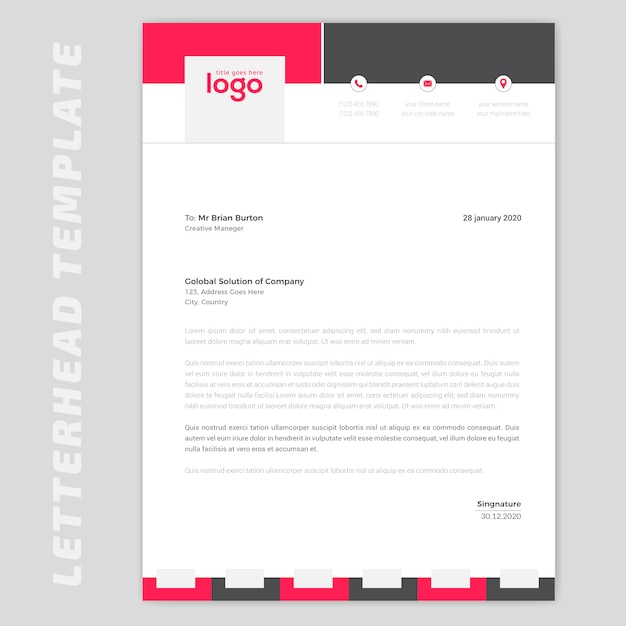 Red letterhead design Premium Vector