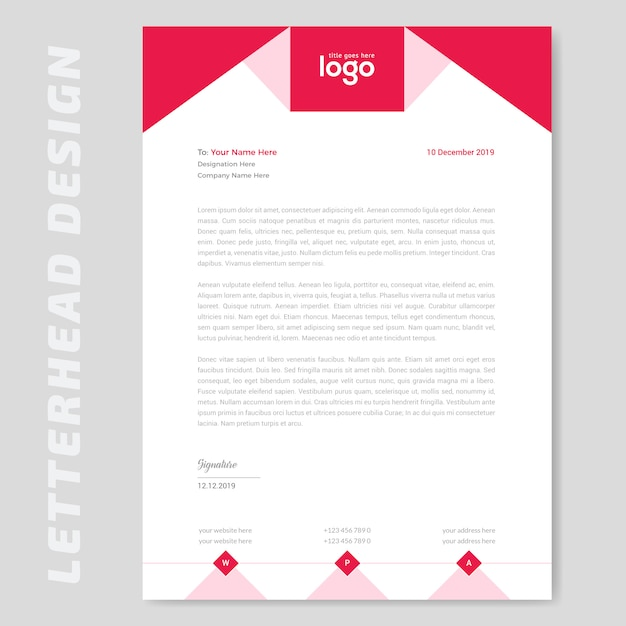 Red letterhead design Premium Vector