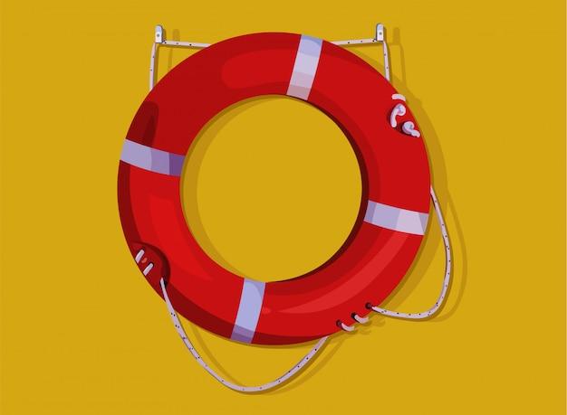 노란색 벽에 걸려 빨간색 lifebuoy 반지입니다. 생명 구조 무료 벡터