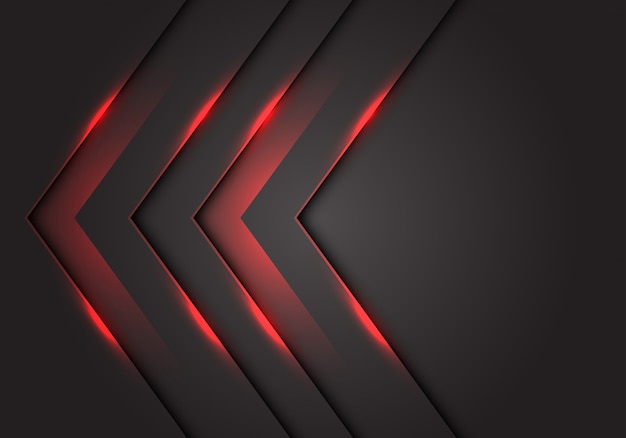 Red light 3d arrow direction, dark grey blank space background. Premium Vector