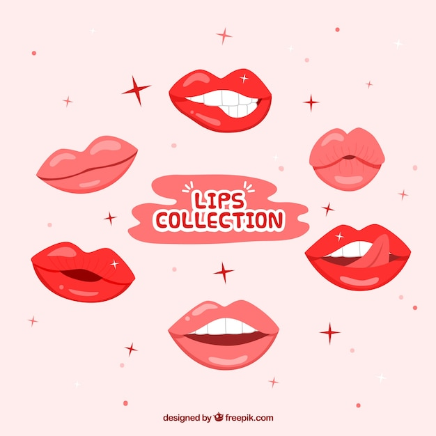 Red lips collection with flat design Free Vector
