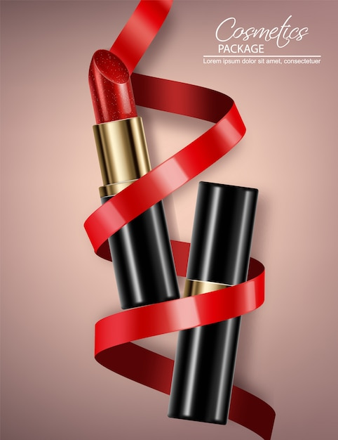Red lipstick package Premium Vector