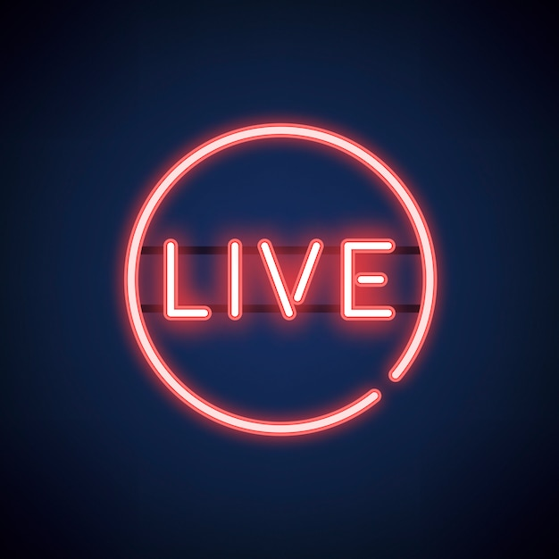 Red live neon sign vector Free Vector