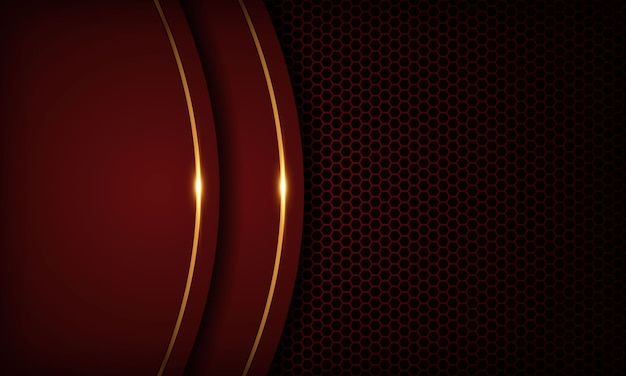 Red luxury background with overlap layers. texture with golden line and shiny golden light effect. Premium Vector