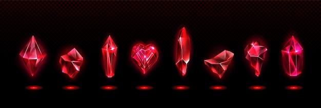 Набор красных магических кристаллов Бесплатные векторы