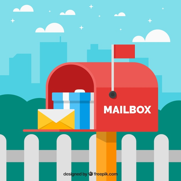 Red mailbox background with envelope and gift Free Vector