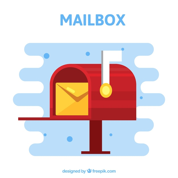 Red mailbox background with envelope Free Vector