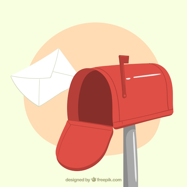 Red mailbox background with hand drawn envelope Premium Vector