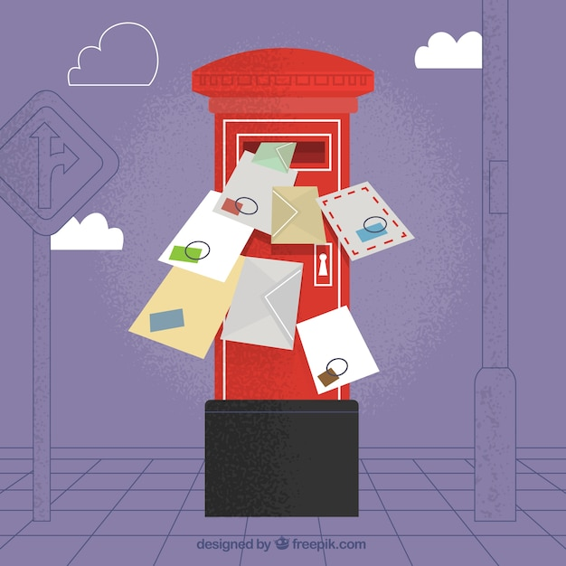 Red mailbox background with several envelopes Free Vector