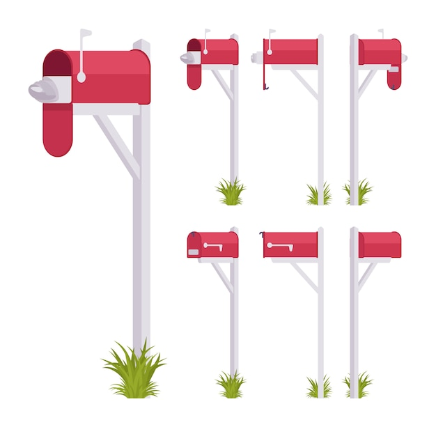 Red mailbox set. steel box near a dwelling, street corner for mail, to put and get a letter, with indicator. landscape architecture and urban design concept.   style cartoon illustration Premium Vector