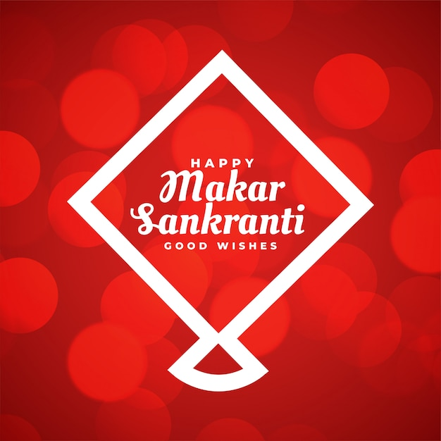 Red makar sankranti greeting card with line style kite Free Vector