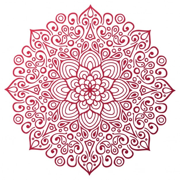 Red mandala outline Vector | Free Download