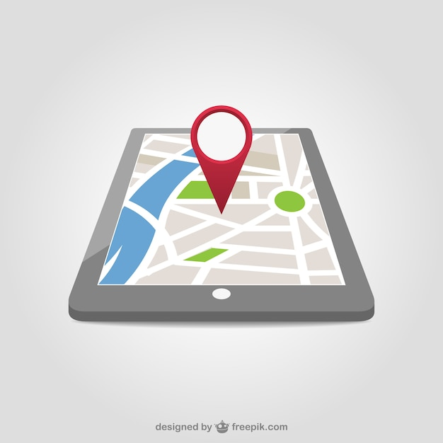 Red map pin in a tablet Free Vector