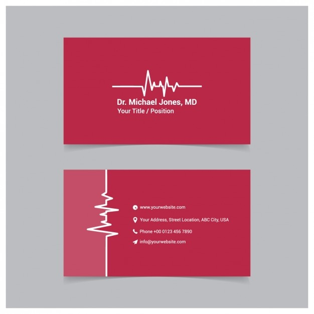 Red medical business card template vector free download for Med cards template