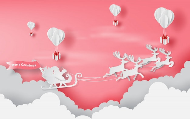 Red merry christmas background Premium Vector
