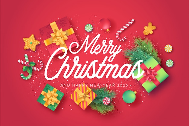Red merry christmas greeting card with cute ornaments Free Vector