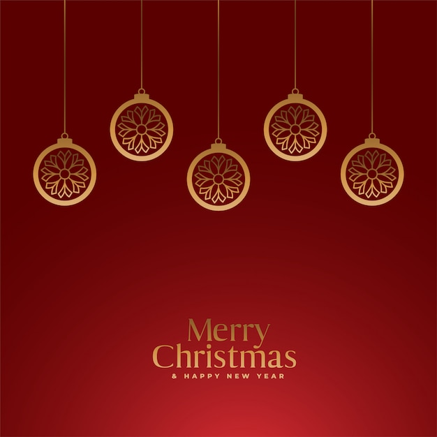 Red merry christmas royal background with golden balls Free Vector