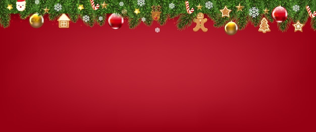 Red merry christmas with christmas border Premium Vector