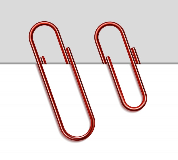 Red metal paper clip and paper  on white background. Premium Vector