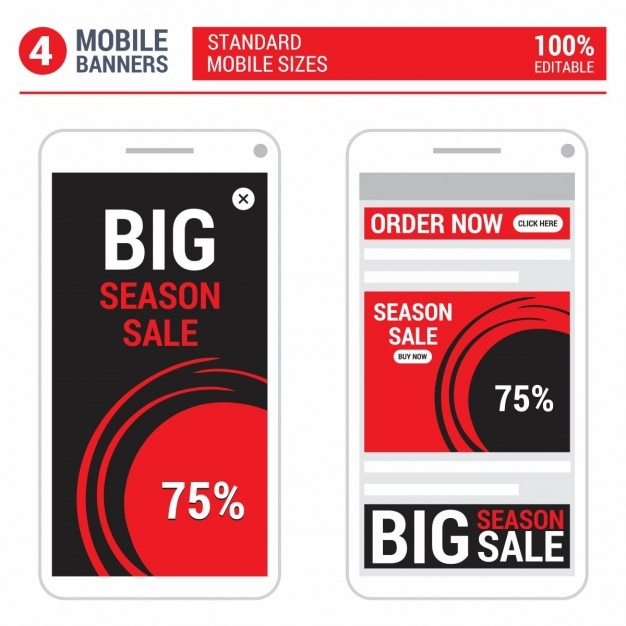 Red mobile ads banner set Vector | Free Download
