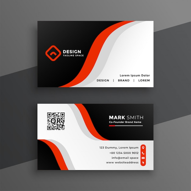 Red modern business card design template Free Vector