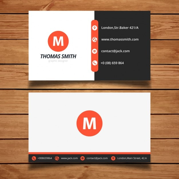 red modern business card design vector free download