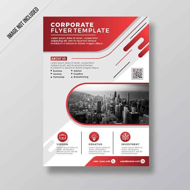 red modern style corporate flyer design template vector premium