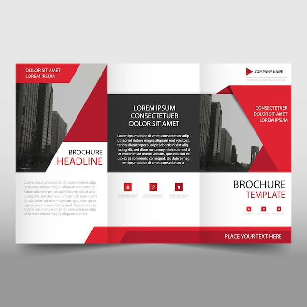 Red Modern Trifold Business Brochure Template Vector Free Download