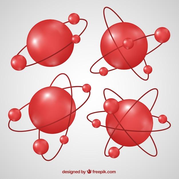 Collezione di molecole rosse Vettore gratuito
