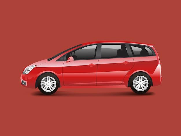 Red mpv minivan automobile vector Free Vector