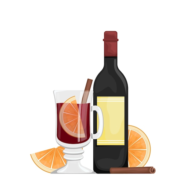 Красный глинтвейн в чашке с дольками апельсина и специями. зимний алкогольный напиток. иллюстрация с бутылкой вина, глинтвейн в стакане. Premium векторы
