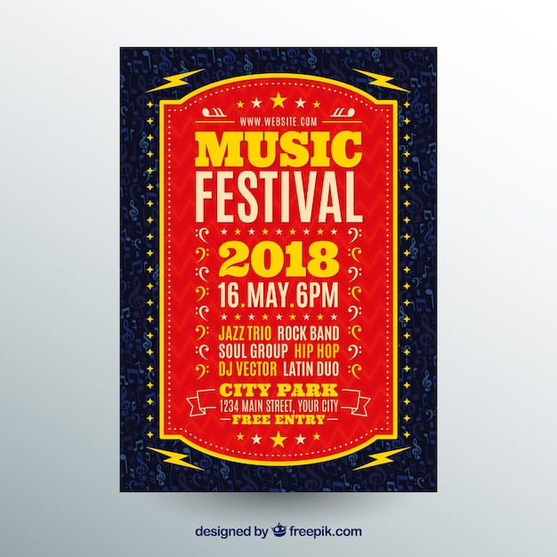 Red music poster concept Free Vector