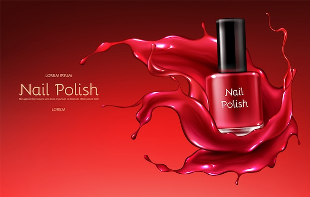 Red nail polish 3d realistic vector advertising banner with glass bottle in glossy Free Vector