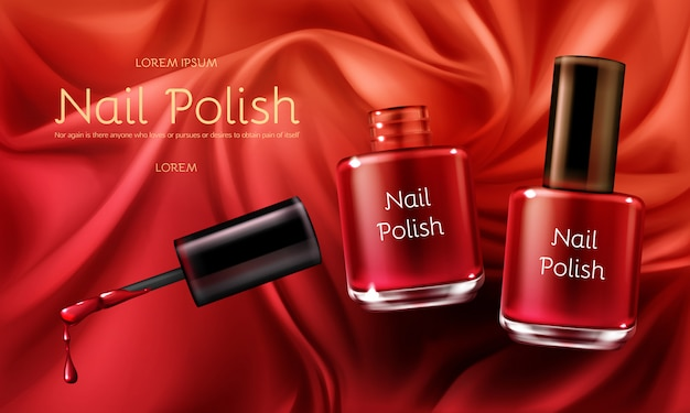 Red nail polish 3d realistic vector cosmetic ads banner Free Vector