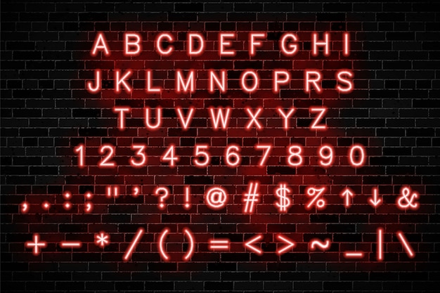 Red neon alphabet with capital letters and numbers Premium Vector