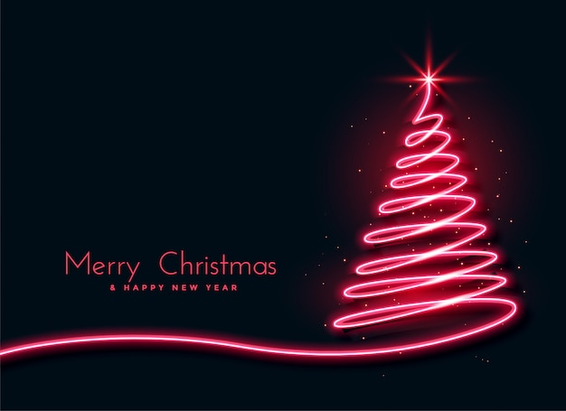 Red neon christmas tree creative design background Free Vector