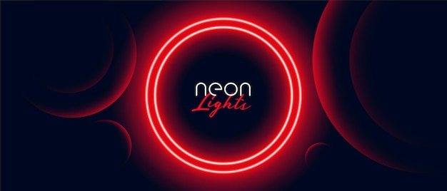 Red neon circle light frame banner design Free Vector
