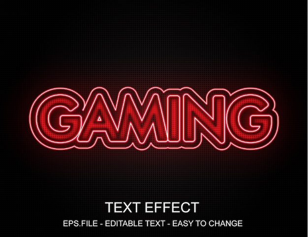 Premium Vector Red Neon Gaming Text Effect