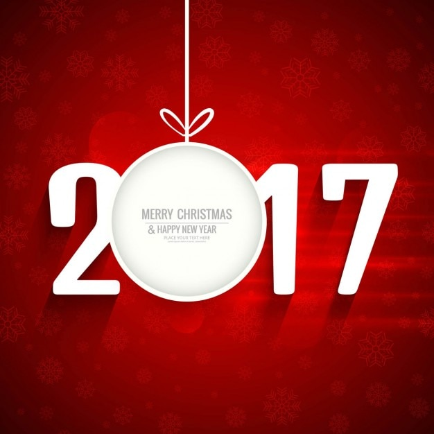Red new year 2017 background with christmas\ ball