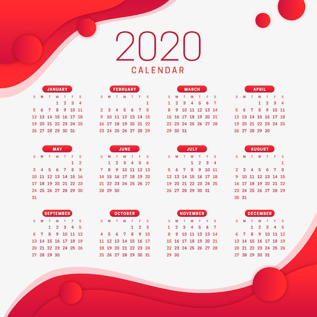 Red new year 2020 calendar Free Vector