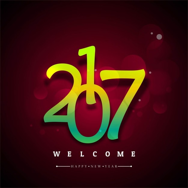 Red new year background with yellow and green\ numbers