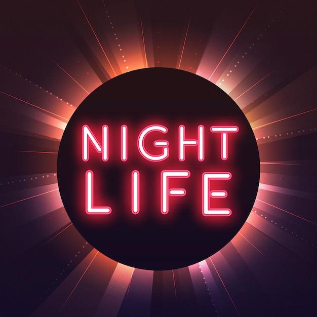 Red nightlife neon sign vector Free Vector